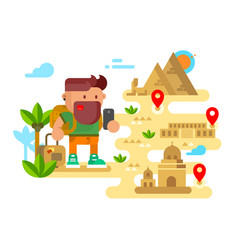 man travels around the world vector image vector image
