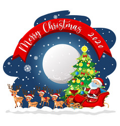 Merry christmas 2020 font banner with santa claus vector