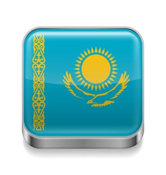 Metal icon of Kazakhstan vector image