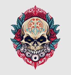 mexico sugar skull dia de los muertos vector image