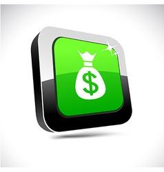 Money 3d square button vector