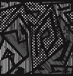 Monochrome geometric seamless pattern vector