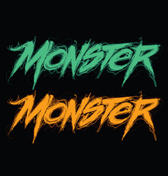 monster handwritten modern lettering vector image