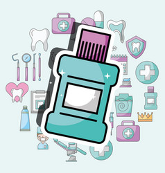 Mouthwash dental care and treatment vector