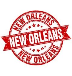 New Orleans red round grunge vintage ribbon stamp vector image