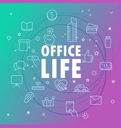 Office life concept different thin line icons vector