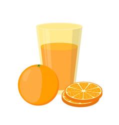 orange juice orange and slices cartoon style vector image