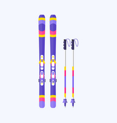 Pairs of skis and sticks poles flat isolated vector