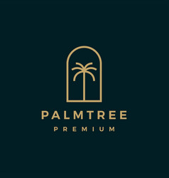 palm tree gold logo icon vector image