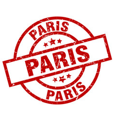 Paris red round grunge stamp vector