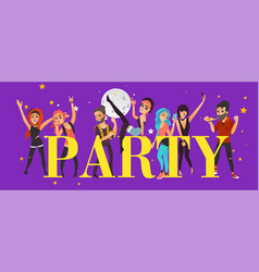 party banner poster - friends having fun in club vector image