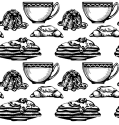 pastries and tea vector image