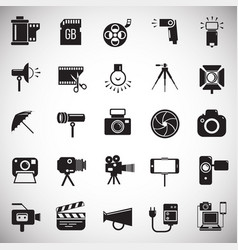 Photography and videography icon set on white vector