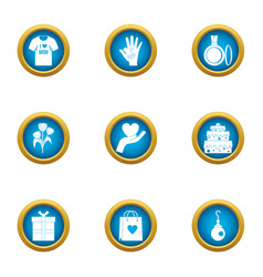Present a gift icons set flat style vector