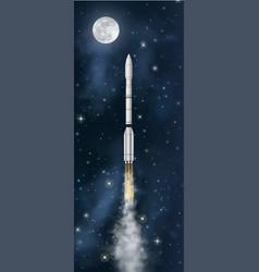 realistic rocket flies at night starry sky vector image