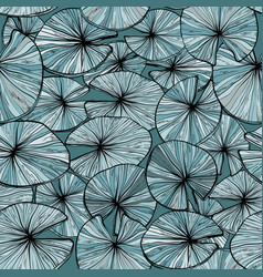 seamless monochrome pattern with water lilies vector image