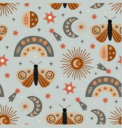 Seamless pattern with celestial moth moon rainbo vector