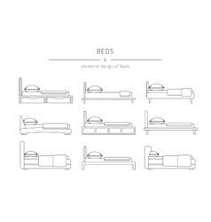 set bed outline vector image