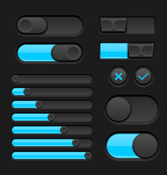 Set of black interface switch buttons with blue vector