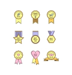 Set of flat medals and tags vector image