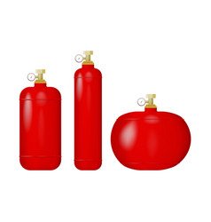 Set red cylinders with liquefied gas vector