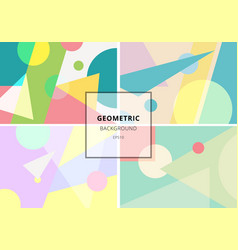 Set trendy geometric elements retro style vector