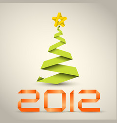 simple christmas tree made from green paper stripe vector image