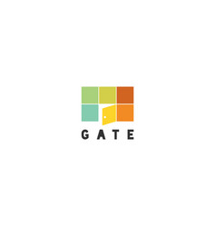 Simple colorful gate with opened door logo sign vector