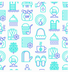spa sauna seamless pattern with thin line icons vector image
