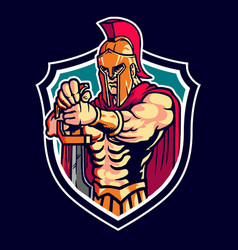 Sparta warrior character mascot logo vector