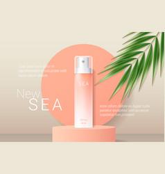 Summer orange sunscreen spray ads template vector