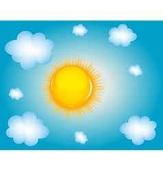 Sun and cloud background vector