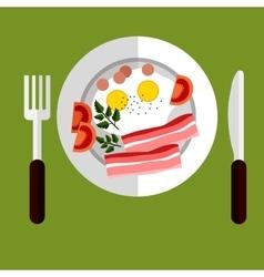 Tasty breakfast eggs and bacon vector