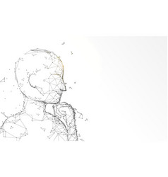 thinking man looks up form lines and particle vector image