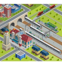 Train Railway Station Isometric Poster vector