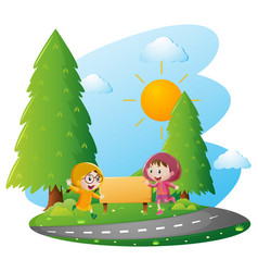 Two girls in raincoat running in the park vector