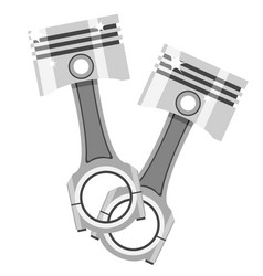 Two pistons with connecting rods parts an vector