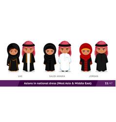 uae saudi arabia jordan men and women in vector image