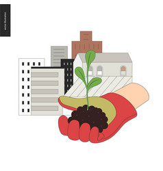 Urban farming and gardening sign vector