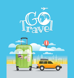 vacation travelling concept car with baggage go vector image