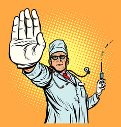 vaccination stop infection doctor gesture vector image
