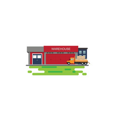 Warehouse building with semi-trailer truck vector