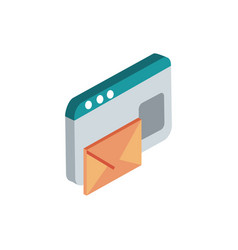 Website email correspondence postal mail isometric vector