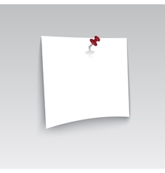 White blank paper attached with red pin vector