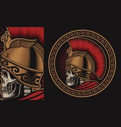 with a skull in spartan helmet vector image