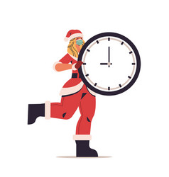 Woman in santa claus costume and mask holding vector