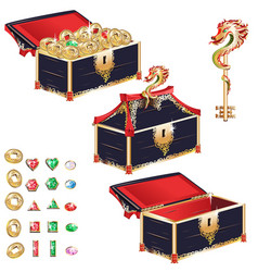 wooden treasure chest set vector image