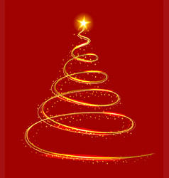 Yellow light christmas tree on red background vector