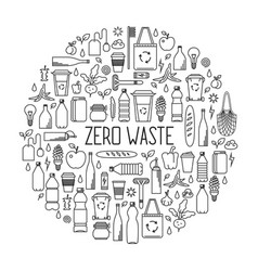 Zero waste concept line art collection of eco and vector