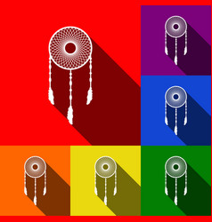 dream catcher sign set of icons with flat vector image